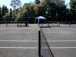 Side view of clay courts
